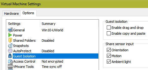 VMware Disable copy and paste